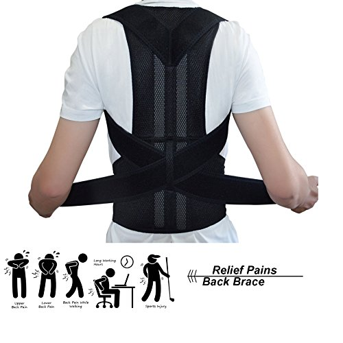 Back Brace Posture Corrector Unisex- Best Fully Adjustable Support Brace- Improves Posture and Provides Lumbar Support- Relief Back/ Shoulder/ Neck Pain (XL) by ZSZBACE