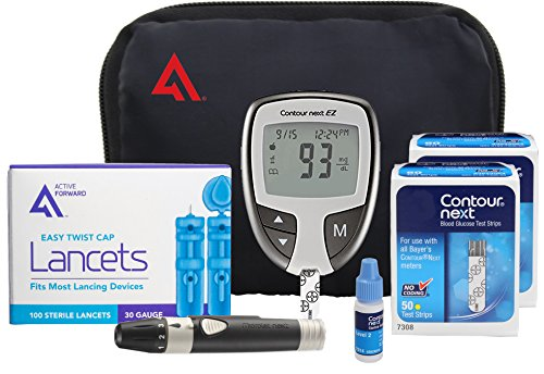 Contour NEXT EZ Diabetes Testing Kit | Contour NEXT EZ Blood Glucose Meter, 100 Contour NEXT Blood Glucose Test Strips, 100 Lancets, Lancing Device, Control Solution, Log Book, User Manuals and Pouch