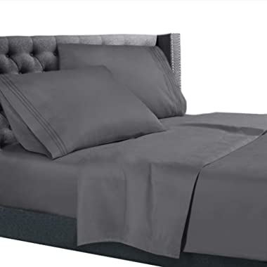 Cal King Size Bed Sheets Set Gray, Bedding Sheets Set on Amazon, 4-Piece Bed Set, Deep Pockets Fitted Sheet, 100% Luxury Soft Microfiber, Hypoallergenic, Cool & Breathable