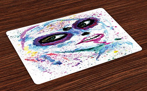 Ambesonne Girls Place Mats Set of 4, Grunge Halloween Lady with Sugar Skull Make Up Creepy Dead Face Gothic Woman Artsy, Washable Fabric Placemats for Dining Room Kitchen Table Decor, (Creepy Halloween Makeup Ideas For Women)