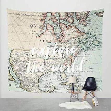 photo relating to Vintage World Map Printable known as Walden Basic principle Antique Global Map Print Tapestry Bed room Dorm Wall Putting Light-weight Cloth Wanderlust Artwork Decor 51 x 60 within