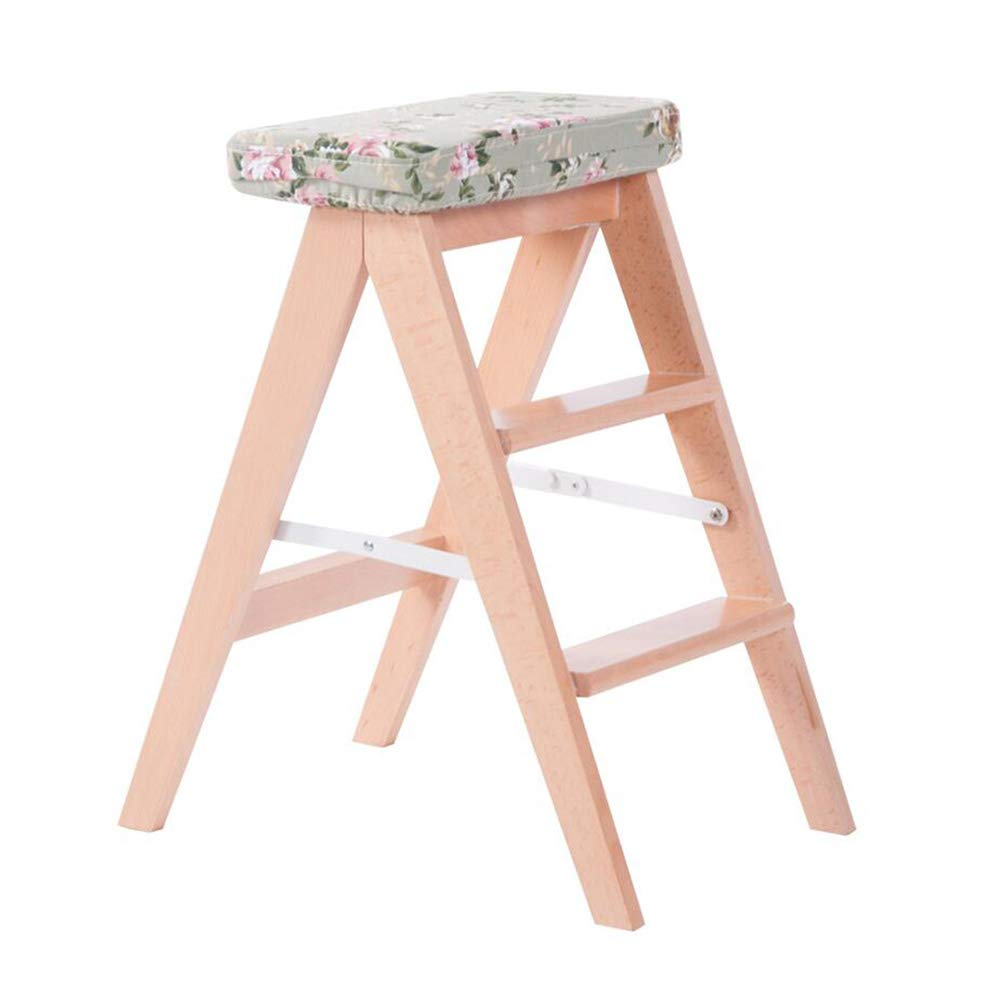 T2 Dall Step Stool Solid Wood 2 Layer Stool Pedal Folding Ladder Stool Multifunctional (color   T5)