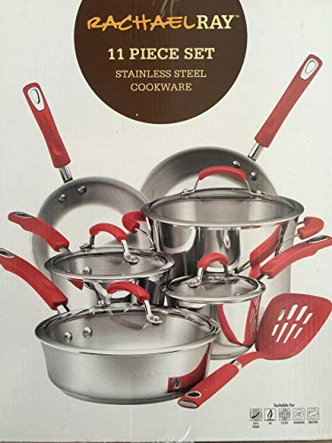 Steel Rachael Skillet Stainless Ray (Rachael Ray Classic Brights Stainless Steel 11-Piece Cookware Set, Red Handles (Certified Refurbished))