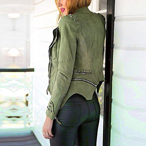 Punk Vintage Denim BAINASIQI Green Spike Coat Jacket Womens Shoulder Studded Jeans qYAX5Aw