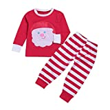 YJM Christmas Santa Baby Toddler Girls Boy Tops Stripe Pants 2Pcs Set Outfit Clothes (Red, 12 Months)