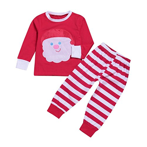 YJM Christmas Santa Baby Toddler Girls Boy Tops Stripe Pants 2Pcs Set Outfit Clothes (Red, 12 Months) by YJM