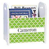 Personalized Moroccan Lime White White Book Caddy and Rack
