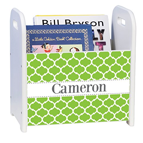 Personalized Moroccan Lime White White Book Caddy and Rack by MyBambino