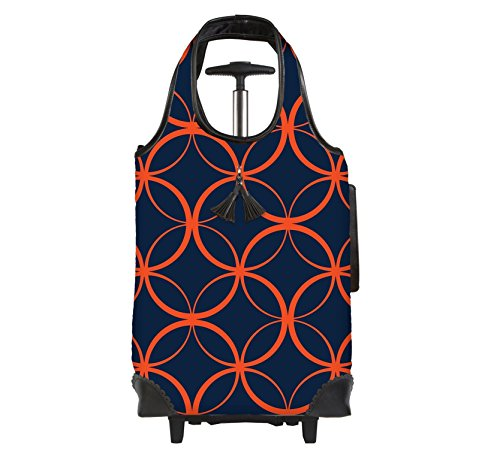 Lightweight Insulated Rolling Tote, Orange/Blue - Excursion Picnic Trolley