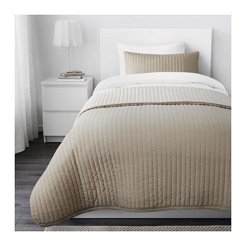 IKEA KARIT Beige colcha y almohada, Twin/full: Amazon.es: Hogar