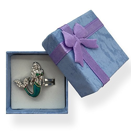 Ocea Creations Mermaid Mood Ring - Get Instant Emotion Reading - with Purple Gift Box Great Gift for Girls]()