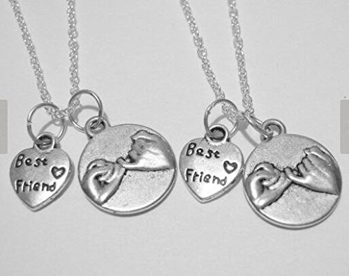 Spring Sale 2 Pinky Promise Best Friend Heart Necklaces BFF Sisters