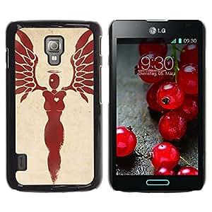 GOODTHINGS Funda Imagen Diseño Carcasa Tapa Trasera Negro Cover Skin Case para LG Optimus L7 II P710 / L7X P714 - alas del ángel de la sangre del corazón plumas