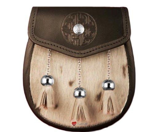 Semi Dress Sporran Celtic Targe Chrome Button Flap Brown