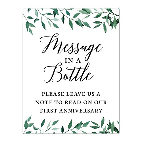 Andaz Press Wedding Party Signs, Natural Greenery Green Leaves, 8.5x11-inch, Message in a Bottle, Please Leave Us a Note to Read on Our First Anniversary, 1-Pack]()