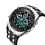Fashion Men's Digital Analog Sport Wrist Watch Military Men WristWatch LED Light Dual-display Mens Watches with Silicone Band (Black)