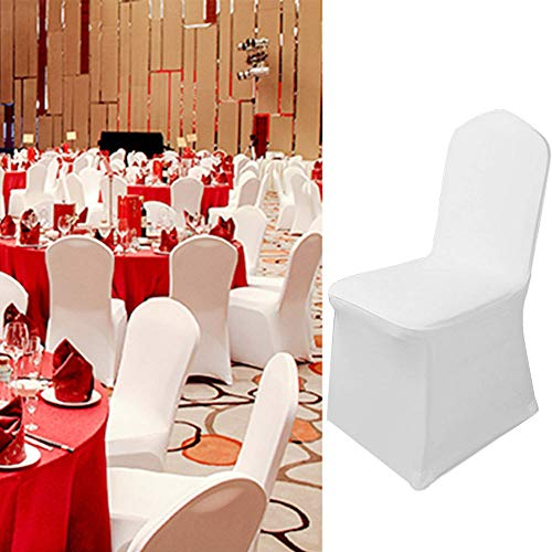 YJYdada 1pcs White Flat Arched Front Covers Spandex Lycra Chair Cover Wedding Party (A) by YJYdada (Image #1)