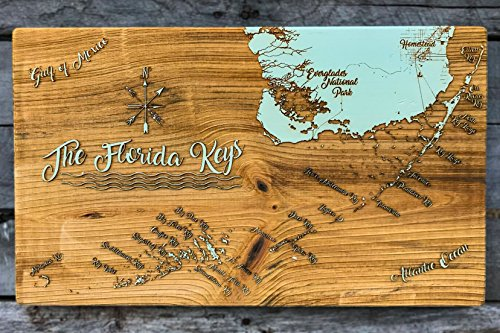 The Florida Keys - Whimsical wood engraved map by Fire & Pine