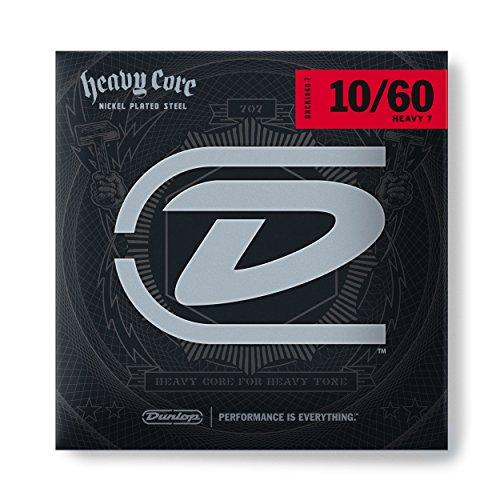 (Dunlop DHCN1060 Heavy Core Nickel Wound Guitar Strings, Heavy, .010-.060, 7 Strings/Set)