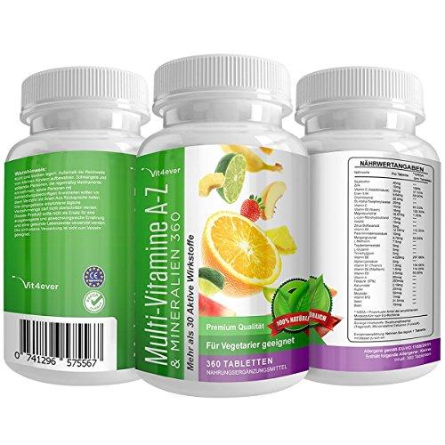 Multivitamin A-Z - 360 Tabletten - 32 Vitamine & Mineralien - 360 Tage Versorgung - Täglich nur 1 Tablette - Mulitvitamine - Vitamin C, Eisen, Vitamin E, Zink, Vitamin B3, Niacin, Magnesium, Vitamin B5, Vitamin D3, OPC, Traubenkernextrakt, Glutamin, Vitamin B6, Alpha-Liponsäure, Vitamin B1, Vitamin B2, Vitamin B3, Vitamin D3, Vitamin A, Folsäure, Kupfer, Vitamin B12, Selen, Biotin ...