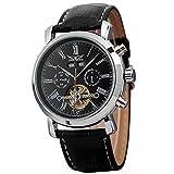 GuTe Dress Mens Steel Decor Tourbillon Automatic Mechanical Wrist Watch Black Dial Full-calendar