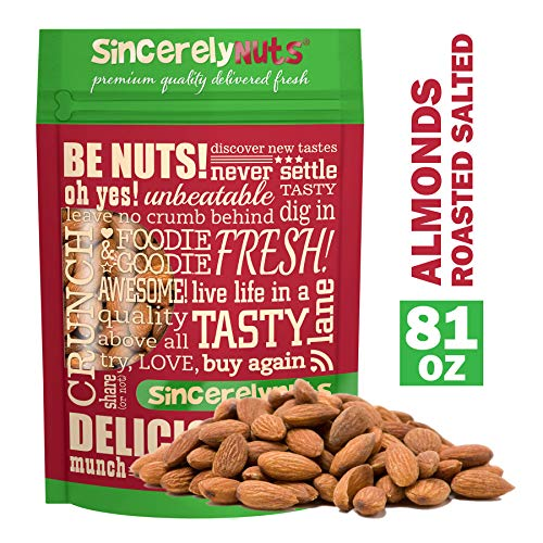 Sincerely Nuts – Roasted Whole Salted Almonds | 5 Lb. Bag | Delicious Guilt Free Snack | Low Calorie, Vegan, Gluten Free | Gourmet Kosher Food | Source of Fiber, Protein, Vitamins and Minerals