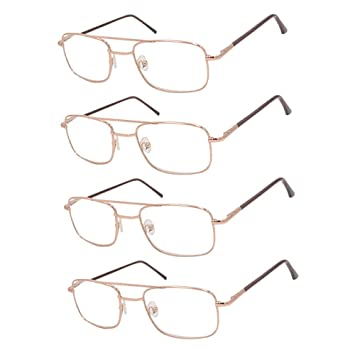 6c85471a57 REAVEE 4 Pack Vintage Top Bar Reading Glasses for Men 1.5 Thin Readers  Stainless Steel Metal