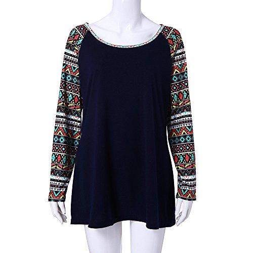 Automne T Marine Haut Tonsi Femme Longue Patchwork Imprime Manche Blouse Chemisier Shirt Top Pa46qRw