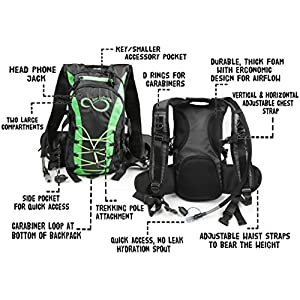 Hydration Backpack With 2.0L TPU Leak Proof Water Bladder- 600D Polyester -Adjustable Padded Shoulder, Chest & Waist Straps- Silicon Bite Tip & Shut Off Valve- (Green Edges)