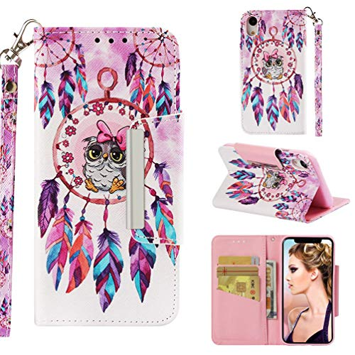 Firefish Case for iPhone Xr,3D Printing Kickstand PU Leather Wallet Case with Magnetic Closure & Wrist Strap [Durable] Slim Shockproof Card Holder Compatible with Apple iPhone Xr -Bird