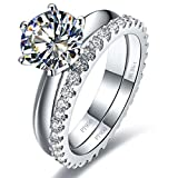 Sterling Silver 2CT Engagement Solitaire Ring