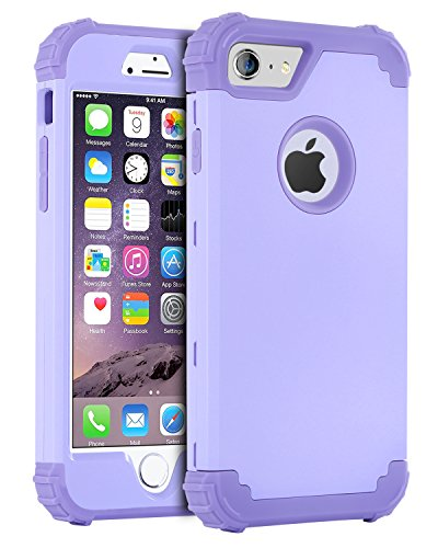 iPhone 6S Case, iPhone 6 Case, BENTOBEN 3 In 1 Hybrid Hard PC & Soft Silicone Heavy Duty Rugged Bumper Shockproof Anti Slip Full-Body Protective Case for iPhone 6/6S (4.7 inch), Purple