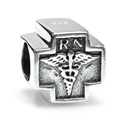 Queenberry Sterling Silver Rn Registered Nurse Cross Bead for Pandora Troll European Charm Bracelets