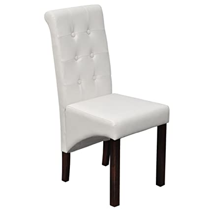 Terrific Amazon Com Set Of 2 Artificial Leather White Dining Side Pabps2019 Chair Design Images Pabps2019Com
