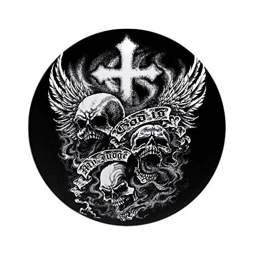 Ornament (Round) God Is My Judge Skulls Cross Angel