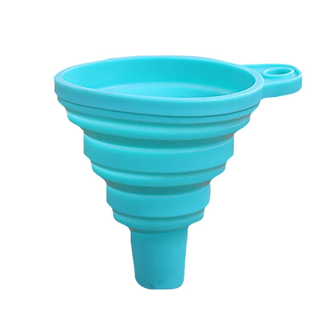 Clearance!!! Hongxin Protable Mini Silicone Gel Foldable Collapsible Style Funnel Hopper Kitchen Cozinha Cooking Tools Accessories Gadgets Christmas Decor (Sky Blue)