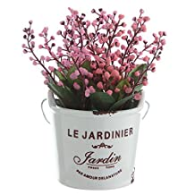 The Most Beautiful Artifical Flowers In The World/Decorative Jequirity Plants In White Porcelain Pot With White Vases/The Best Choice For Home And Office Decration (Red)
