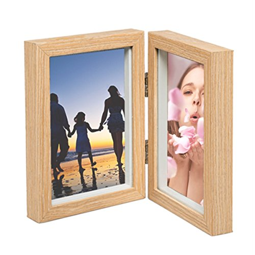 Double Click Photo (CECIINION Wood Photo Frame, Hinged Double Picture Frames, With Glass Front, Fit For Stands Vertically on Desk Table Top (For 4x6in photo,Light Wood Color))
