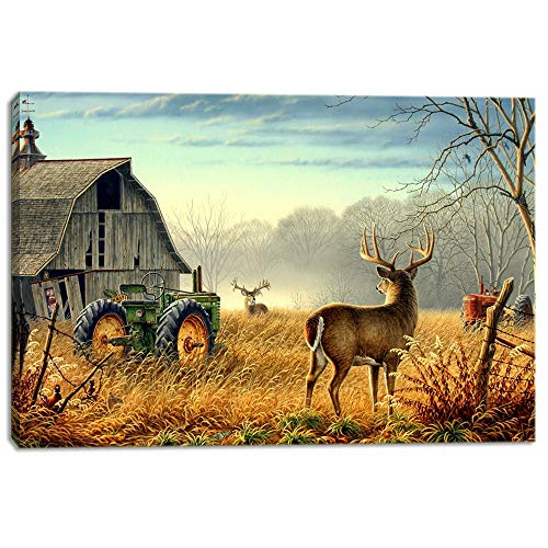KALAWA Wildlife Hunting Brown Themed Landscape Pictures Paintings on Canvas Wall Art 3 Panels Elk Deer Artwork for Home Decoration Framed Stretched and Framed Ready to Hang(24''W x 36''H)