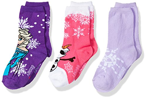 Disney Girls' Frozen 3 Pack Crew Socks