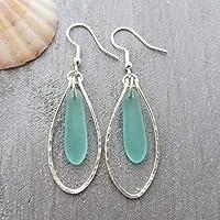 "Handmade in Hawaii, Hammered Wire Loop Aqua sea glass earrings,""March Birthstone"", (Hawaii Gift Wrapped, Customizable Message)"