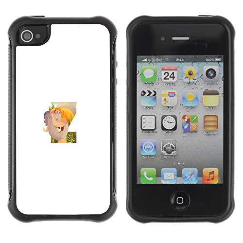 Z Sleep Art Letter Initial - Heavy Duty Armor Shockproof Silicone Cover Rugged case for Apple Iphone 4 / 4S