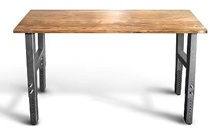 garage workbench acacia hardwood top adjustable height legs use as garage workshop tool - Garage Bench