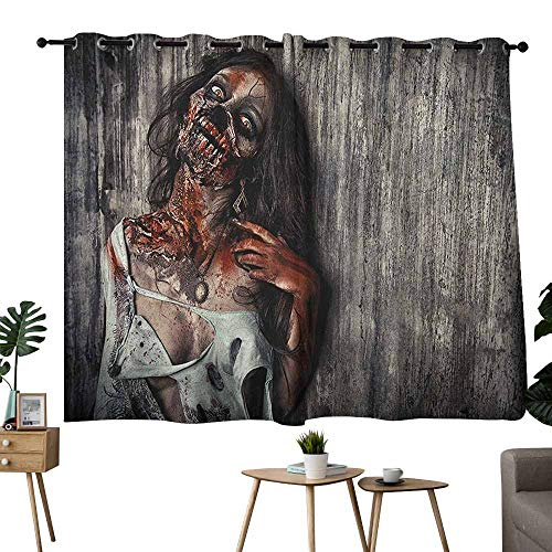 Mannwarehouse Zombie Printed Curtain Angry Dead Woman Sacrifice Fantasy Design Mystic Night Halloween Image 70%-80% Light Shading, 2 Panels,63