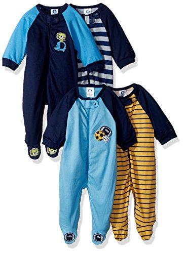 Gerber Baby Boys' 4 Pack Sleep 'n Play, Sport/Safari, 0-3 ()