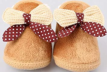 Pink, 12 Baby Premium Soft Sole Bow Anti-Slip Mid Calf Warm Winter Infant Prewalker Toddler Snow Boots,Winter Baby Cotton Shoes Boots Thick Warm Soft Bottom Toddler Shoes Bow