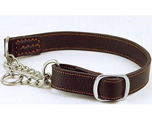 Strimm Humane Training Half Semi Choke Soft Leather Chain Dog Martingale Collar for Control Large Breed Dogs-Brown