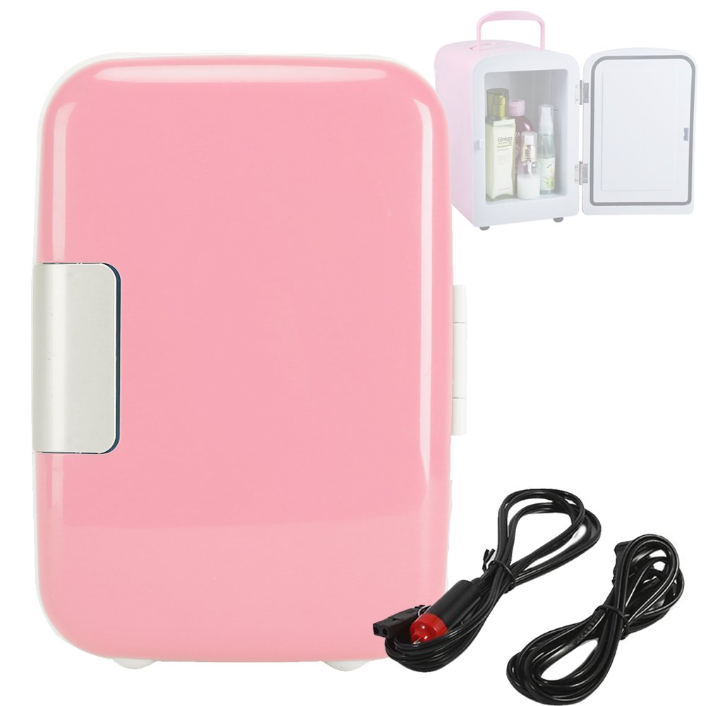4L/6 Can Mini Fridge Cooler for Cosmetics Medical and Breast Milk DC 12V AC110V Pink
