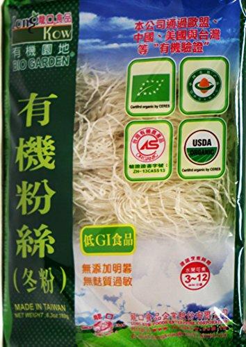 (龙口粉丝) Long Kow Bio Garden Organic Green Been Threads Noodle -Vermicelli 6.3 oz (pack of 3) ()