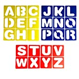 Letter Stencils 4 Inch Food Grade Materials - 26 Pieces Plastic Alphabet Stencils Set for Painting Learning DIY 3 Colors